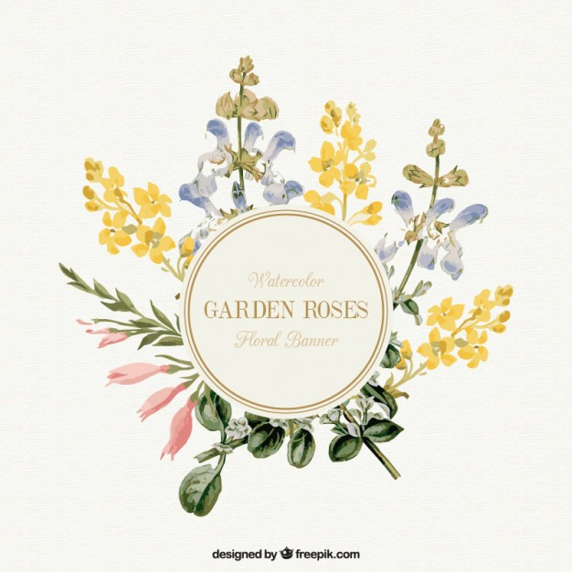 626x626 Watercolor Garden Flowers Banner Vector Free Download