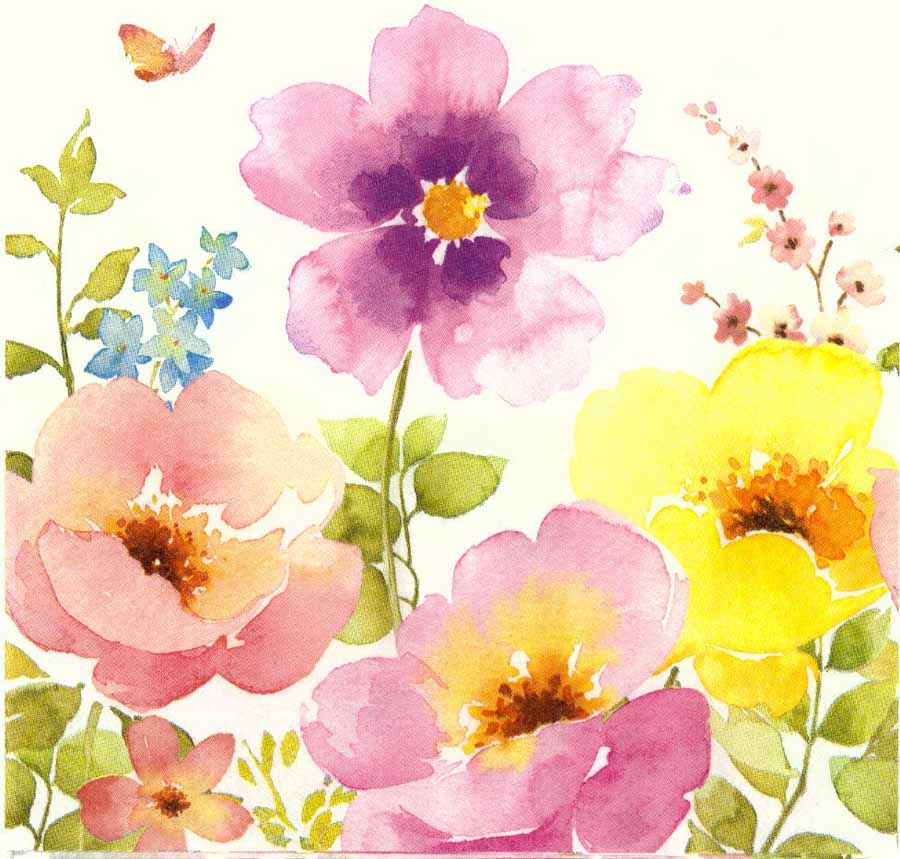 900x859 Decoupage Paper Napkins Of Watercolor Flower Garden And Butterfly