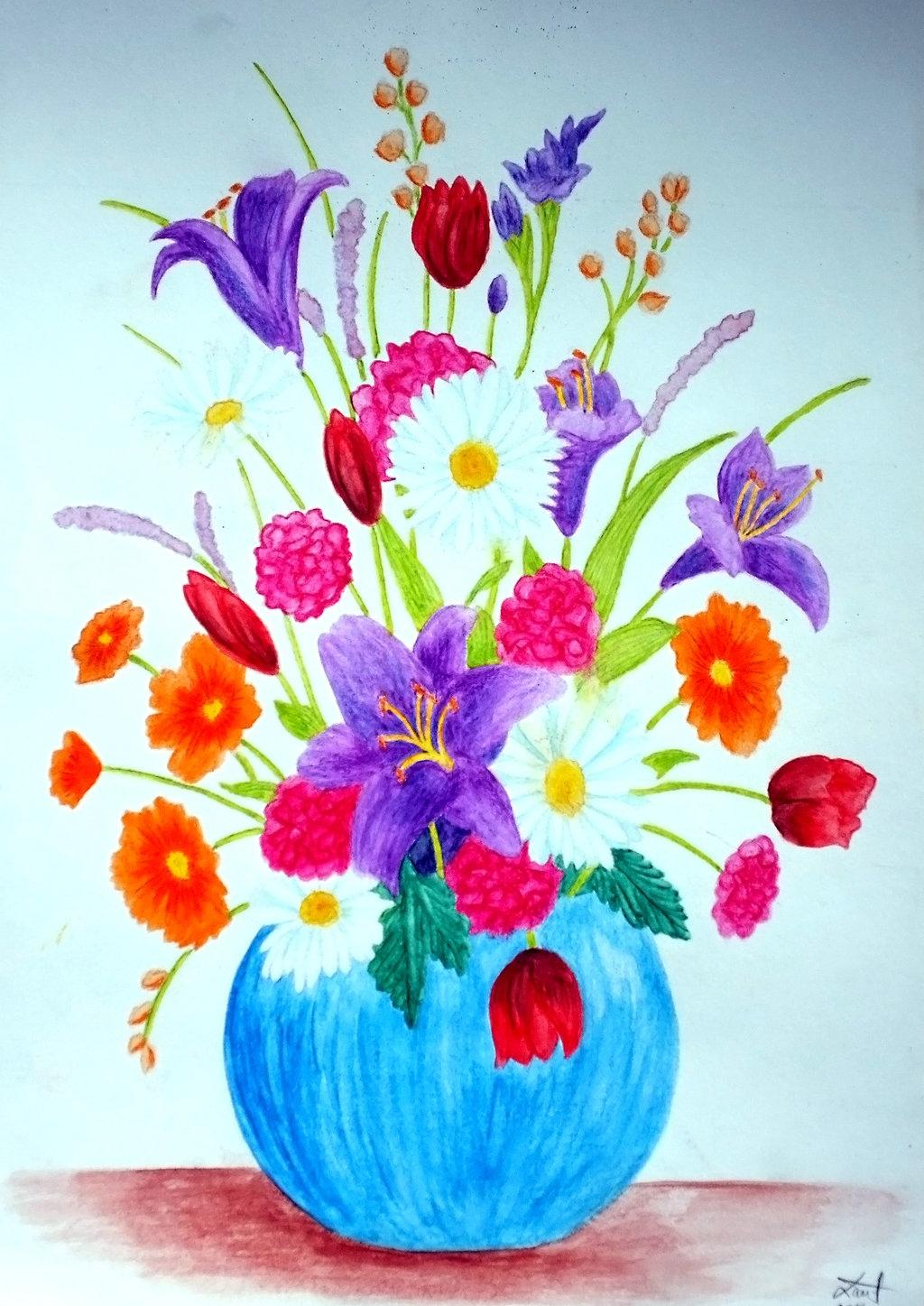 1024x1447 Flower Vase Pot Painting Luxury Flowers In A Vase Watercolor