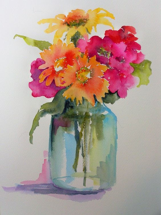 564x751 Flower Vase Watercolor Lovely Watercolors By Marilyn Lebhar Art