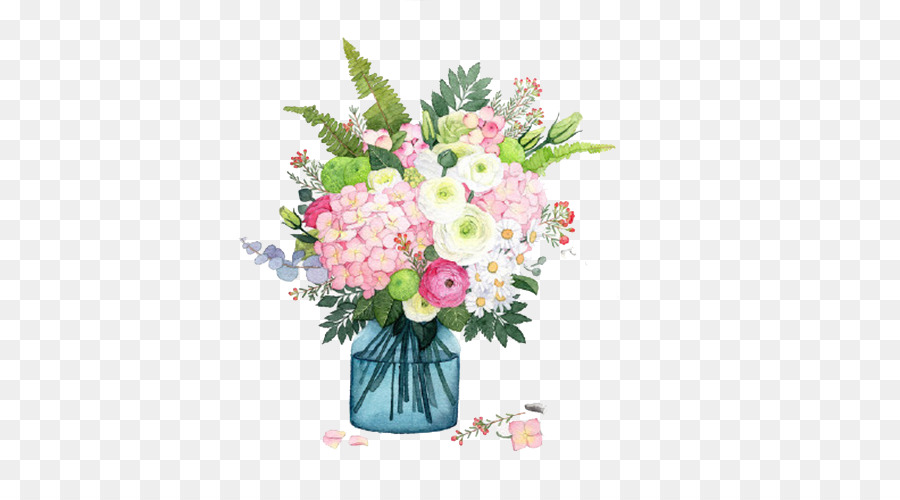 900x500 Flower Vase Watercolor Painting