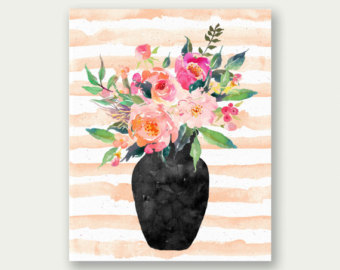 340x270 Flower Watercolor Painting Print Bachelor Button Flower