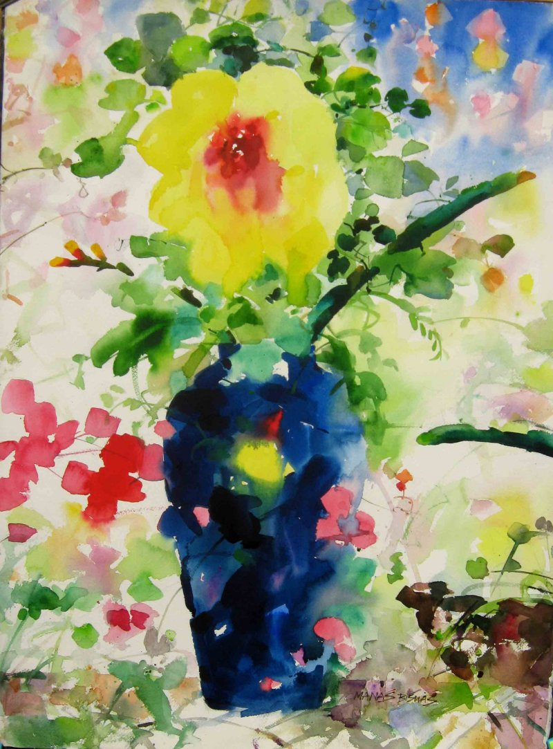 800x1083 Flower Vase With Nature By Artist Manas Biswas Nature Art