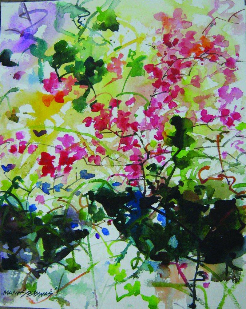 800x1005 Flower Vase By Artist Manas Biswas Nature Art Watercolor Paintings
