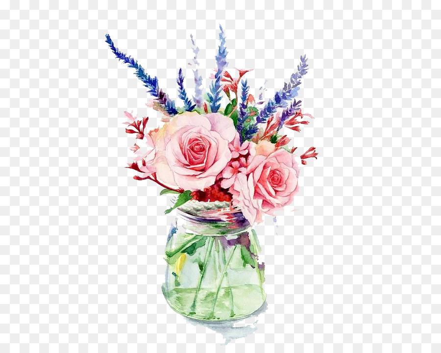 900x720 Garden Roses Vase Flower Watercolor Painting
