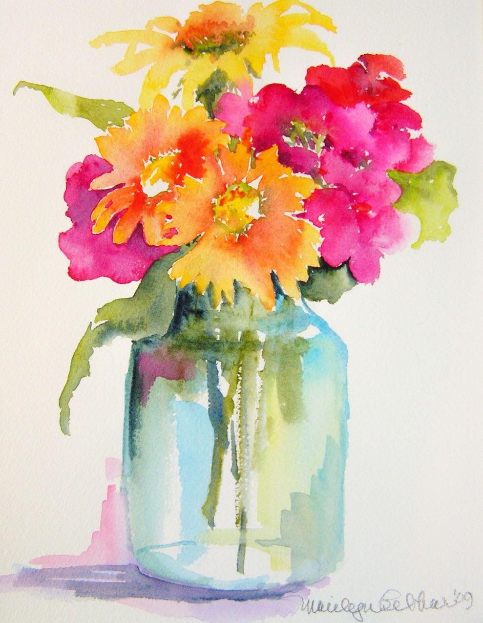 989x1275 Pink, Orange, Yellow Flowers In Mason Jar Vase