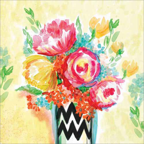 500x500 Watercolor Cute Whimsical Flower Vase Floral Contemporary Modern