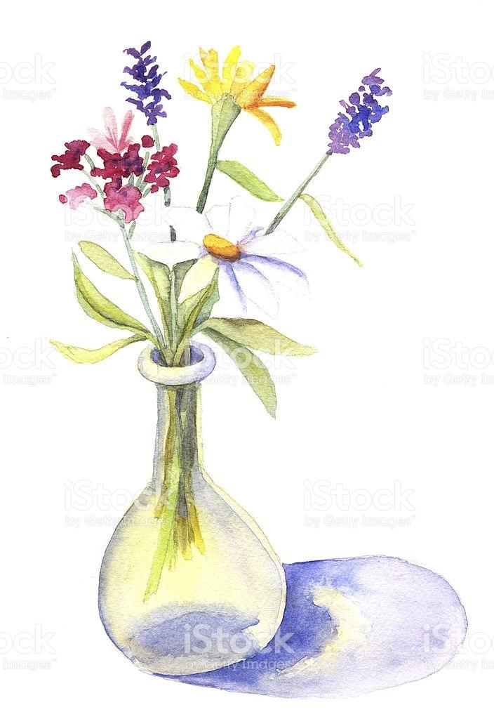 704x1024 Watercolor Flower Vase Luxury Watercolor Flowers In Vase Stock