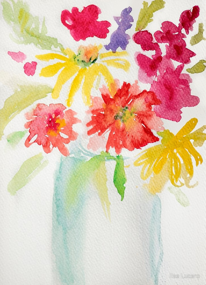 725x1000 Watercolor Flower Vase By Ilze Lucero Redbubble