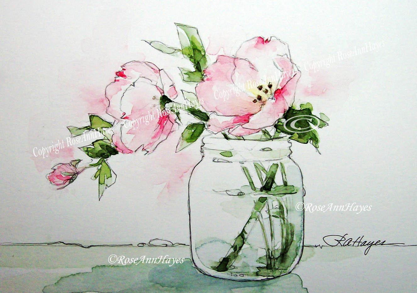 1326x932 Watercolor Paintings By Roseann Hayes Pink Evening Primrose