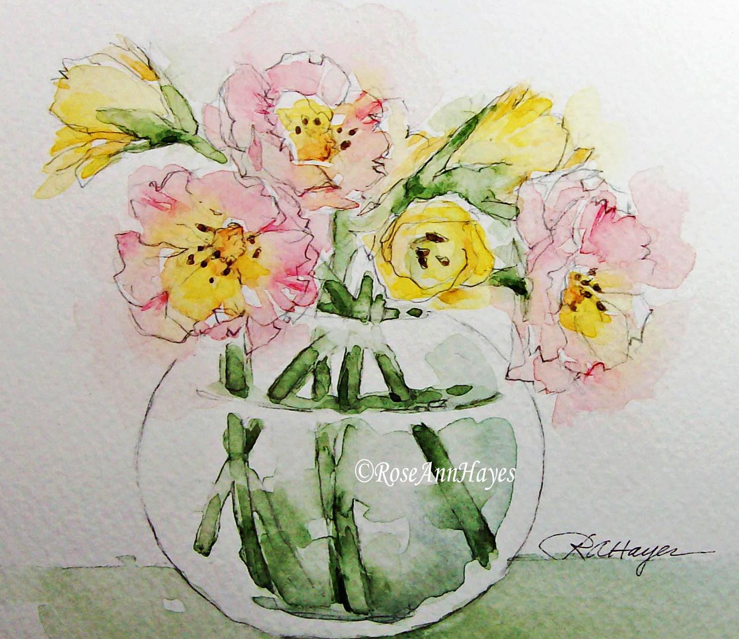1473x1274 Watercolor Paintings By Roseann Hayes Pink Roses Watercolor