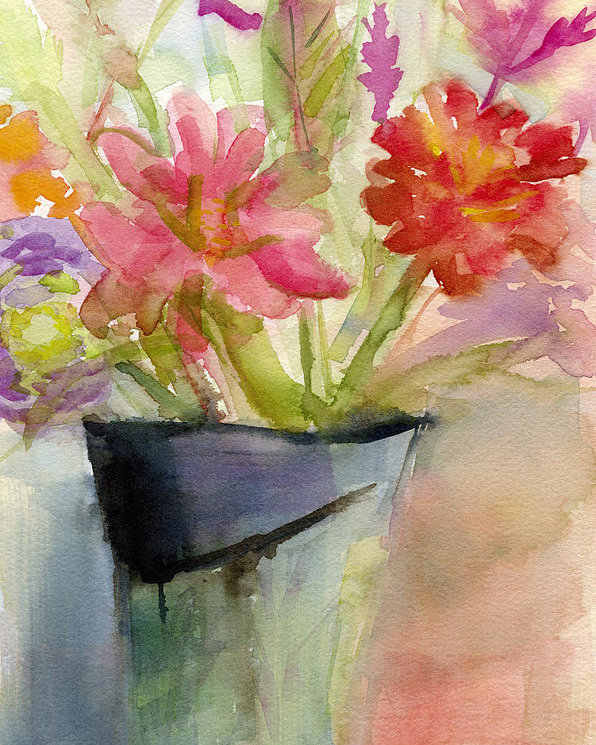 596x745 Zinnias In A Vase Watercolor Paintings Of Flowers Poster By