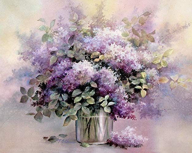 626x500 Lilacs Flowers Art Print Of Watercolor Painting