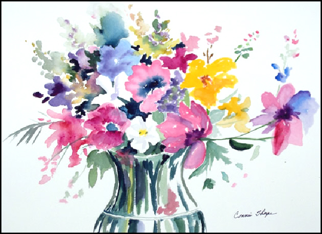 630x458 Flower Vase, Watercolor By Connie Thorpe