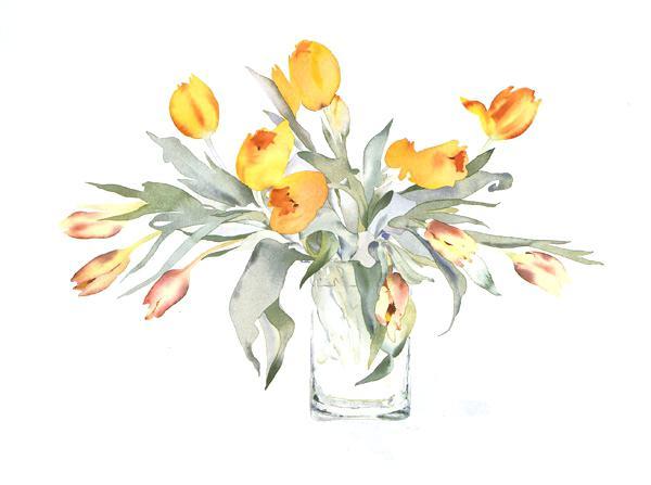 600x447 Flower Vase Drawing Drawing Flowers Tulips In A Square Vase By Van