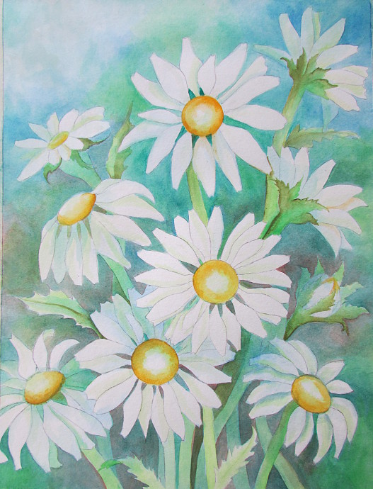 527x690 Painting Daisies Using Negative Watercolor Painting