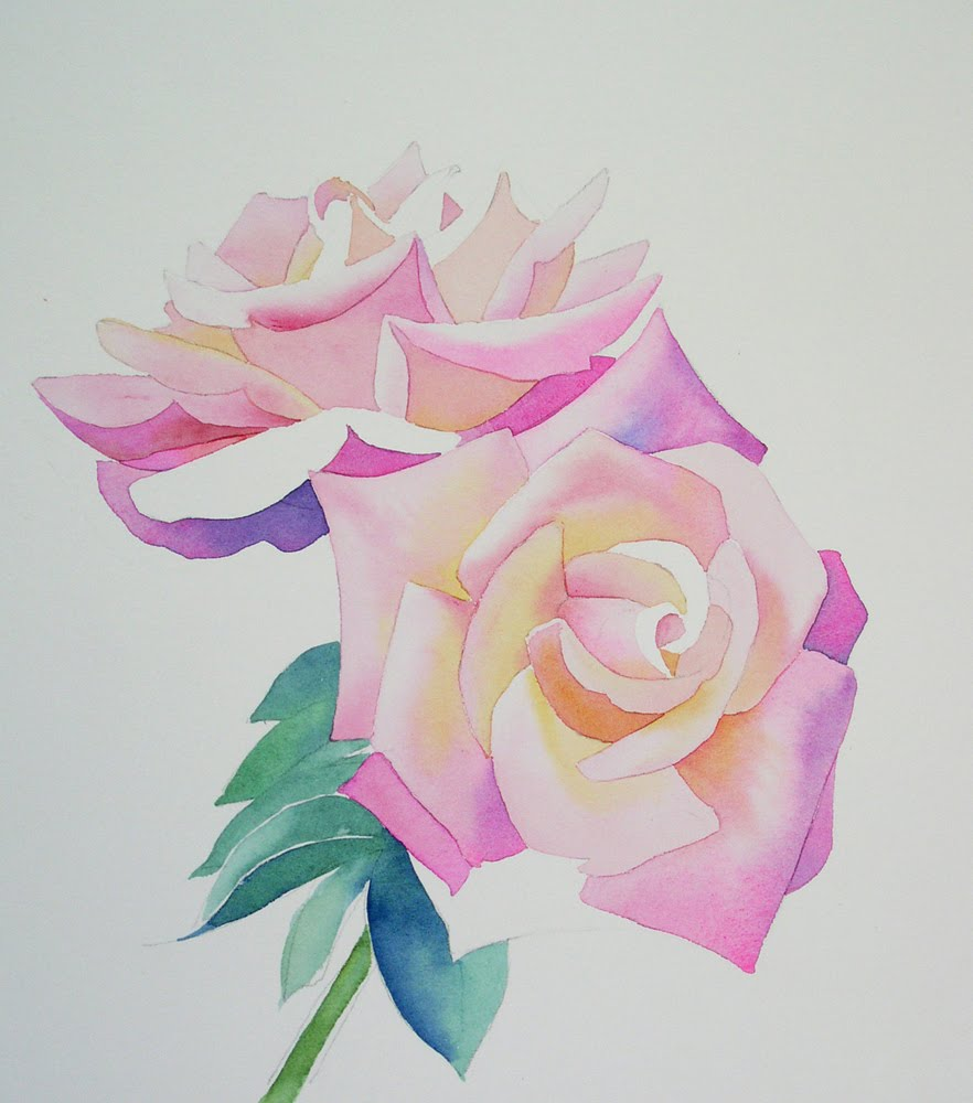 882x1000 Watercolor Rose Painting Tutorial Step By Step
