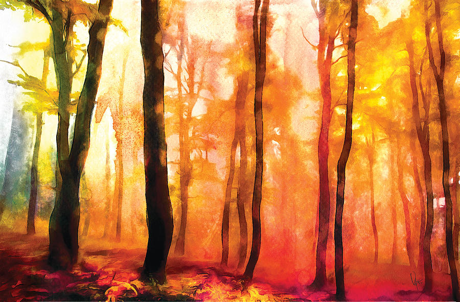 900x591 Water Color Forest Watercolor Sunset Landscape Print Landscape
