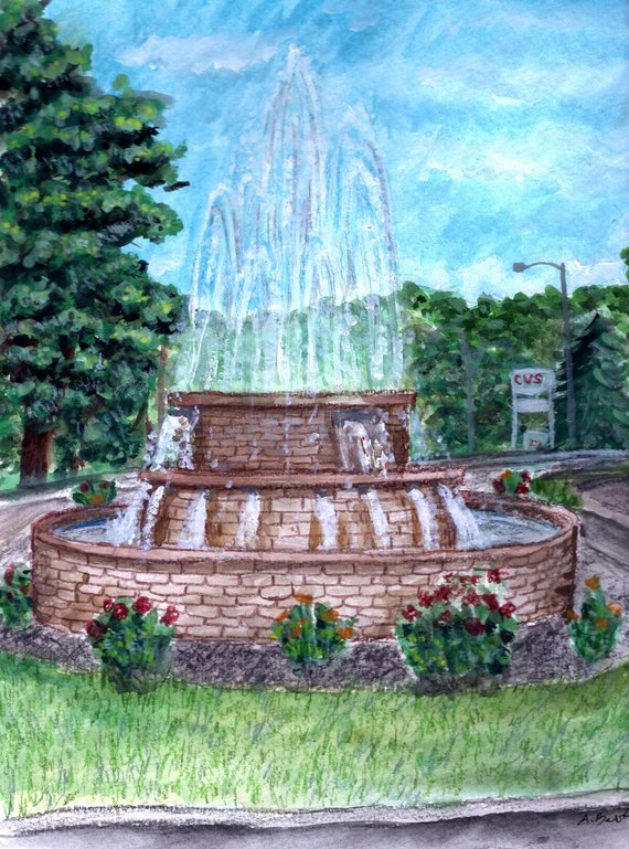 570x769 Oil City Pa East End Fountain Watercolor Painting 11x8.5 Etsy