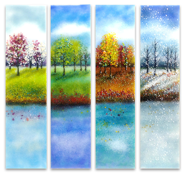 600x567 Four Seasons Glass Wall Art By Anne Nye (Art Glass Wall Sculpture