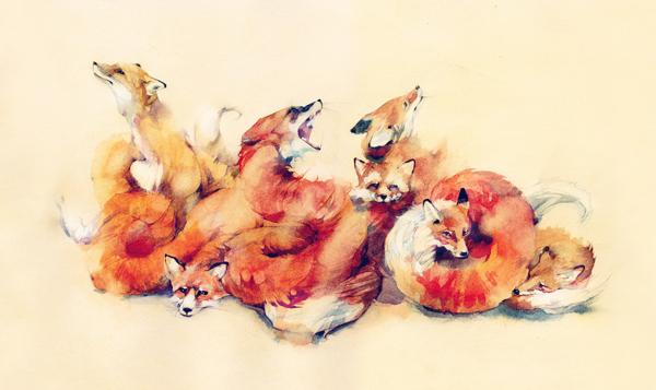 Fox Painting Watercolor