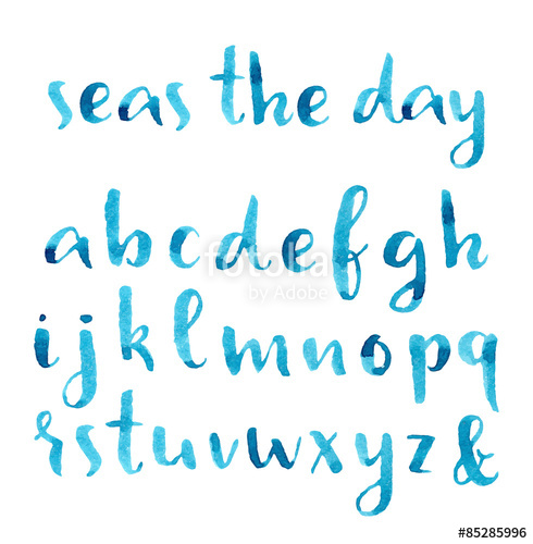 490x500 Hand Drawn Watercolor Nautical Font. Stock Image And Royalty Free