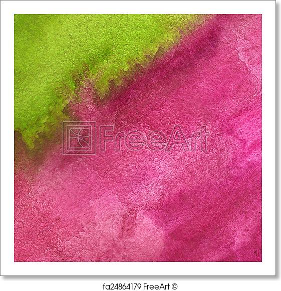 561x581 Free Art Print Of Red And Green Watercolor Background. Green And