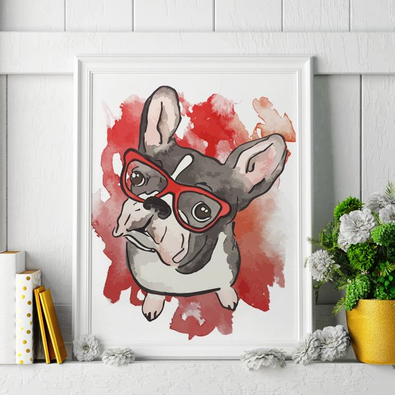 570x570 French Bulldog Watercolor Painting French Bulldog Art Etsy