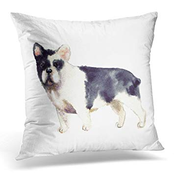 355x355 Golee Throw Pillow Cover French Bulldog Watercolor