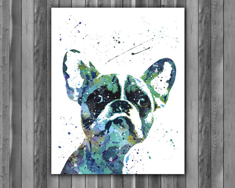 750x600 French Bulldog Watercolor Print, French Bulldog Art, French