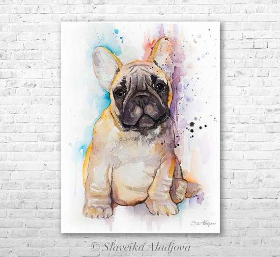 570x524 Fawn French Bulldog Watercolor Painting Print By Slaveika Etsy