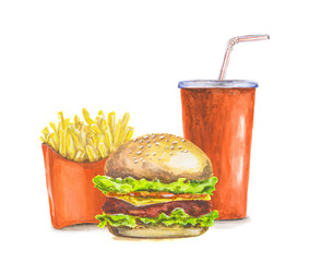 283x240 Watercolor French Fries. Isolated Red Pocket Of French Fries