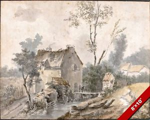 300x240 French Mill Amp Farmhouse 18th Century Watercolor Painting Art Real