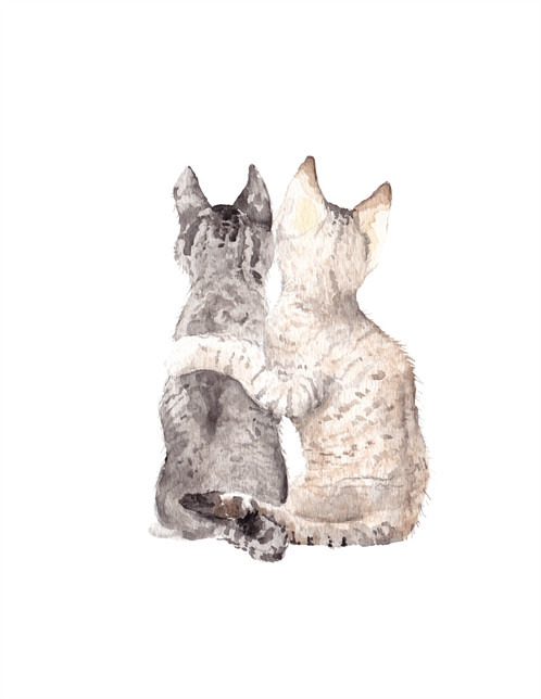 498x644 Cat Best Friends Watercolor Greeting Card Cute Couple Love Card