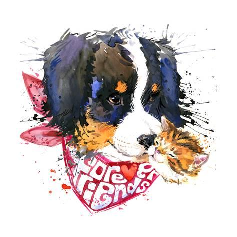 473x473 Dog Companion T Shirt Graphics. Watercolor Dog Illustration