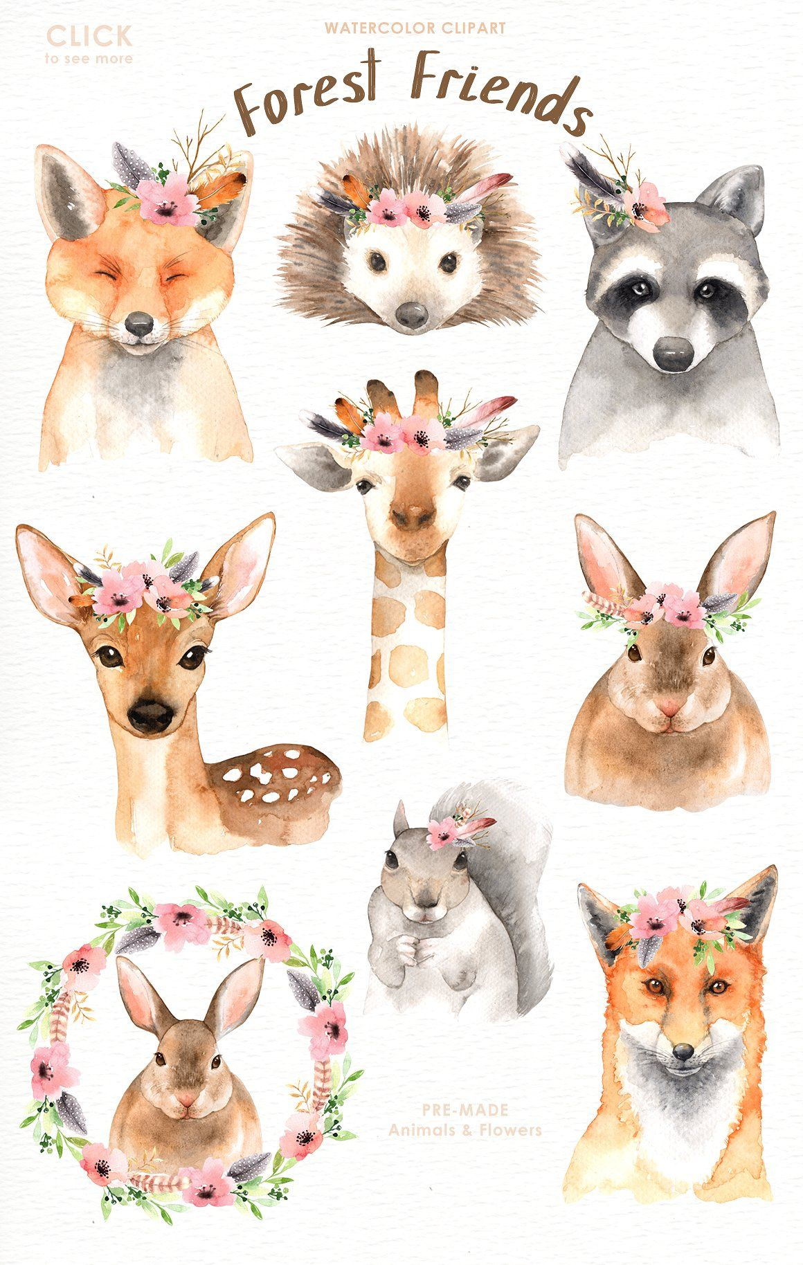 1160x1828 Forest Friends Watercolor Clip Art Forest Friends, Clip Art And