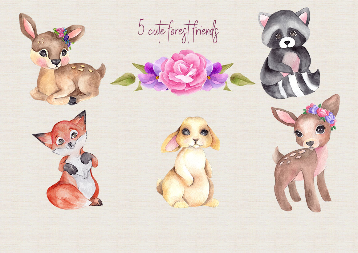 1162x823 Forest Friends. Watercolor Clipart By Ma I Vi