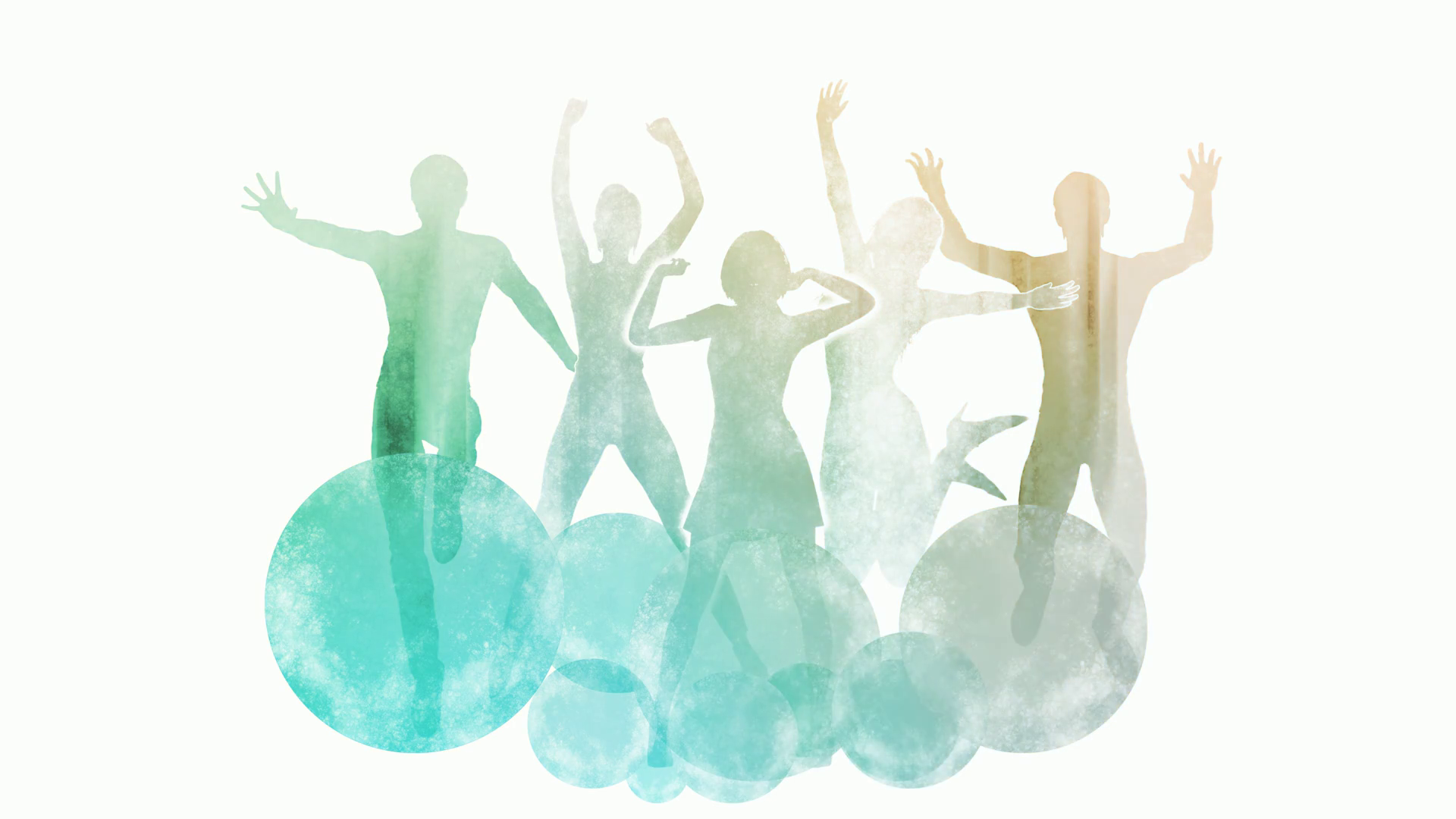 1920x1080 Group Of Friends Jumping For Joy In Watercolor Paint Motion