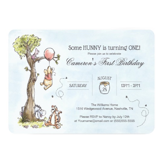 540x540 Pooh Amp Friends Watercolor Tree First Birthday Invitation