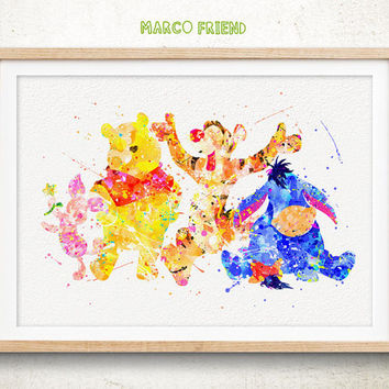 354x354 Winnie The Pooh And Friends Watercolor From Marcofriend On Etsy