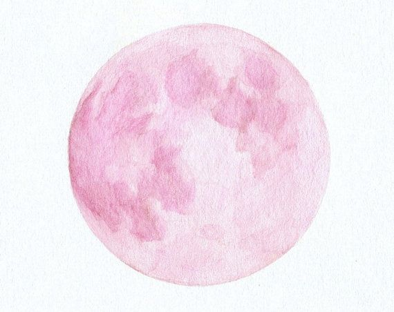 570x452 Pink Full Moon....watercolor Painting Shades Of Pink