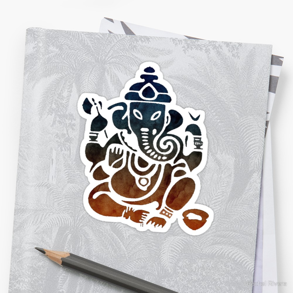1000x1000 Shri Ganesha Watercolor Design Stickers By Rachel Rivera Redbubble