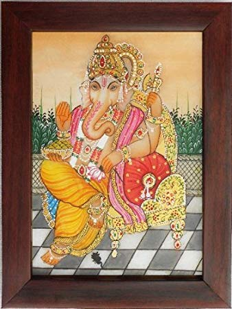 338x450 Ganpati Ganesha Painting On Marble Plate, Handicraft