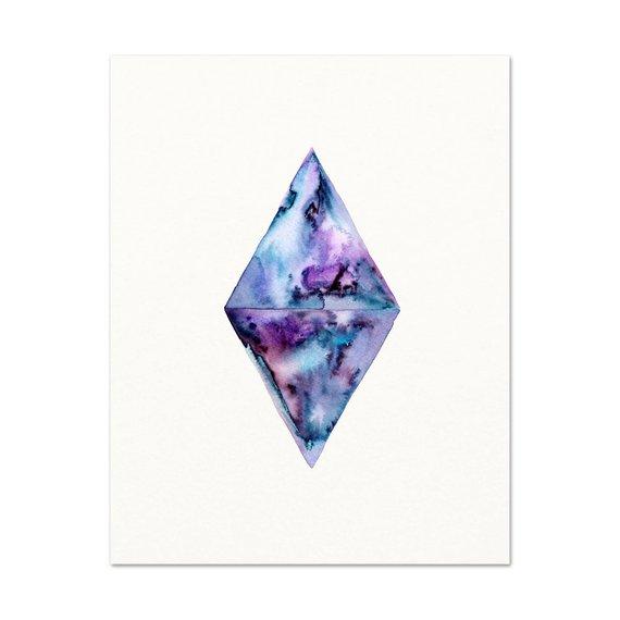 570x570 Purple Hippie Gypsy Boho Girl Wall Art. Purple Geometric