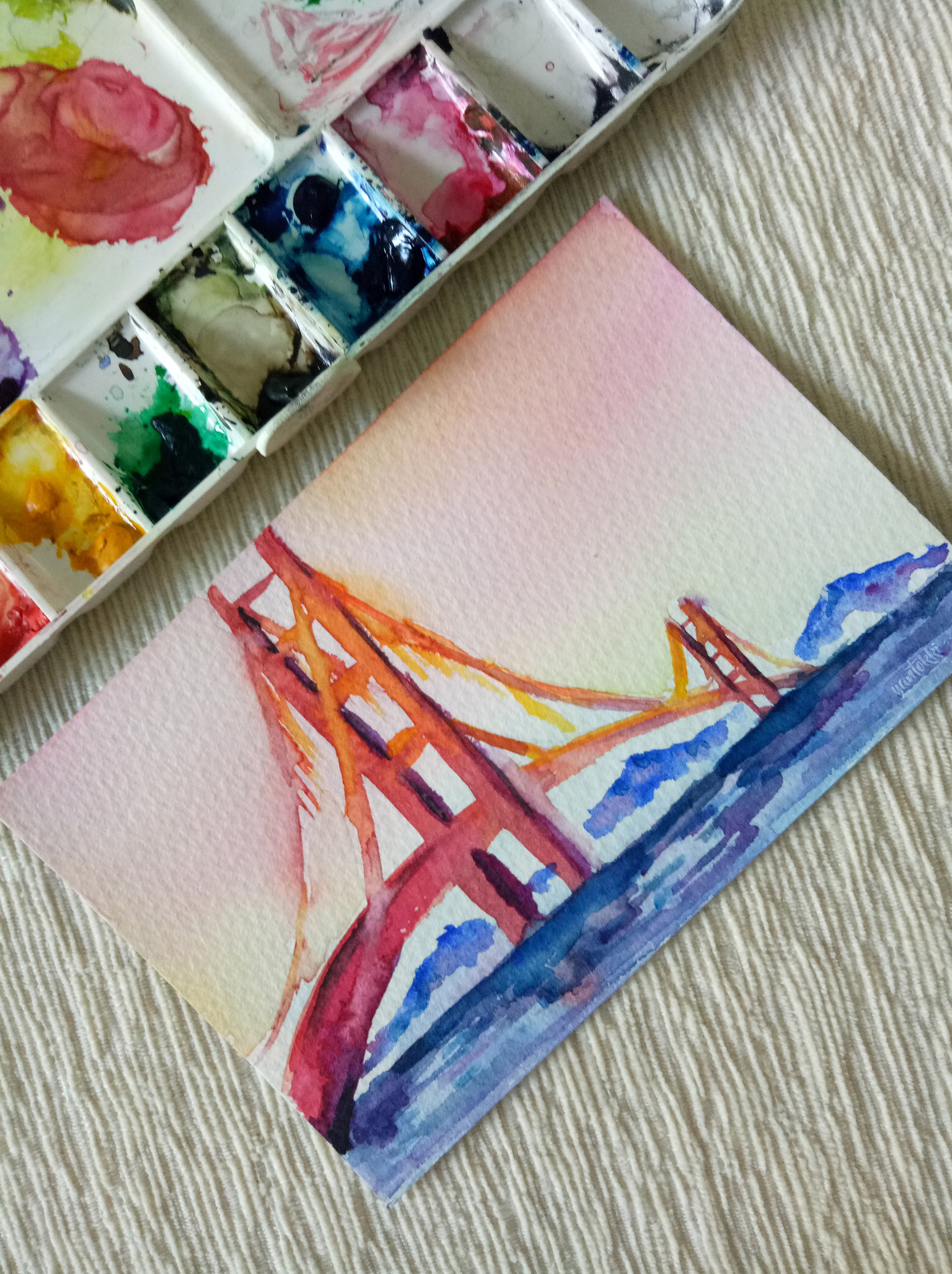 Golden Gate Bridge Watercolor