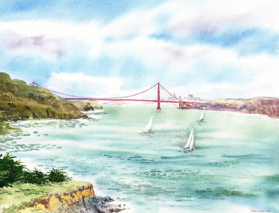 900x686 Golden Gate Bridge View From Point Bonita Painting By Irina Sztukowski