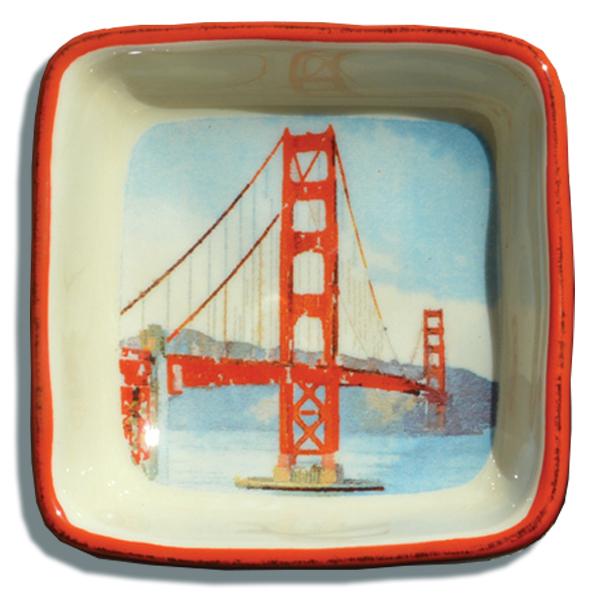 600x600 Golden Gate Bridge Watercolor Trinket Tray San Francisco Mercantile