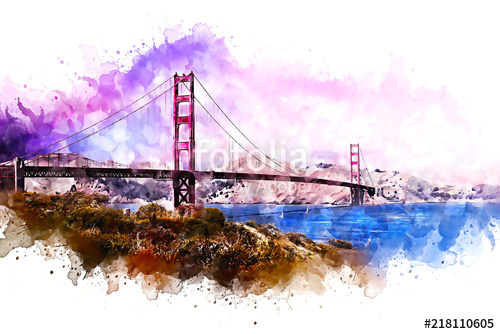 500x334 Golden Gate Bridge Watercolor Abstract Rendition Stock Photo And
