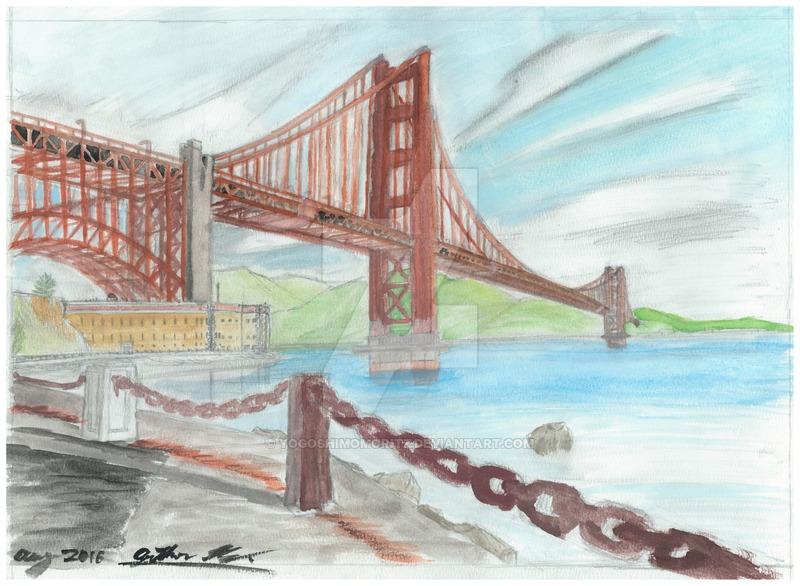 800x586 Golden Gate Bridge Watercolor Painting By Yogoshimomoritz On