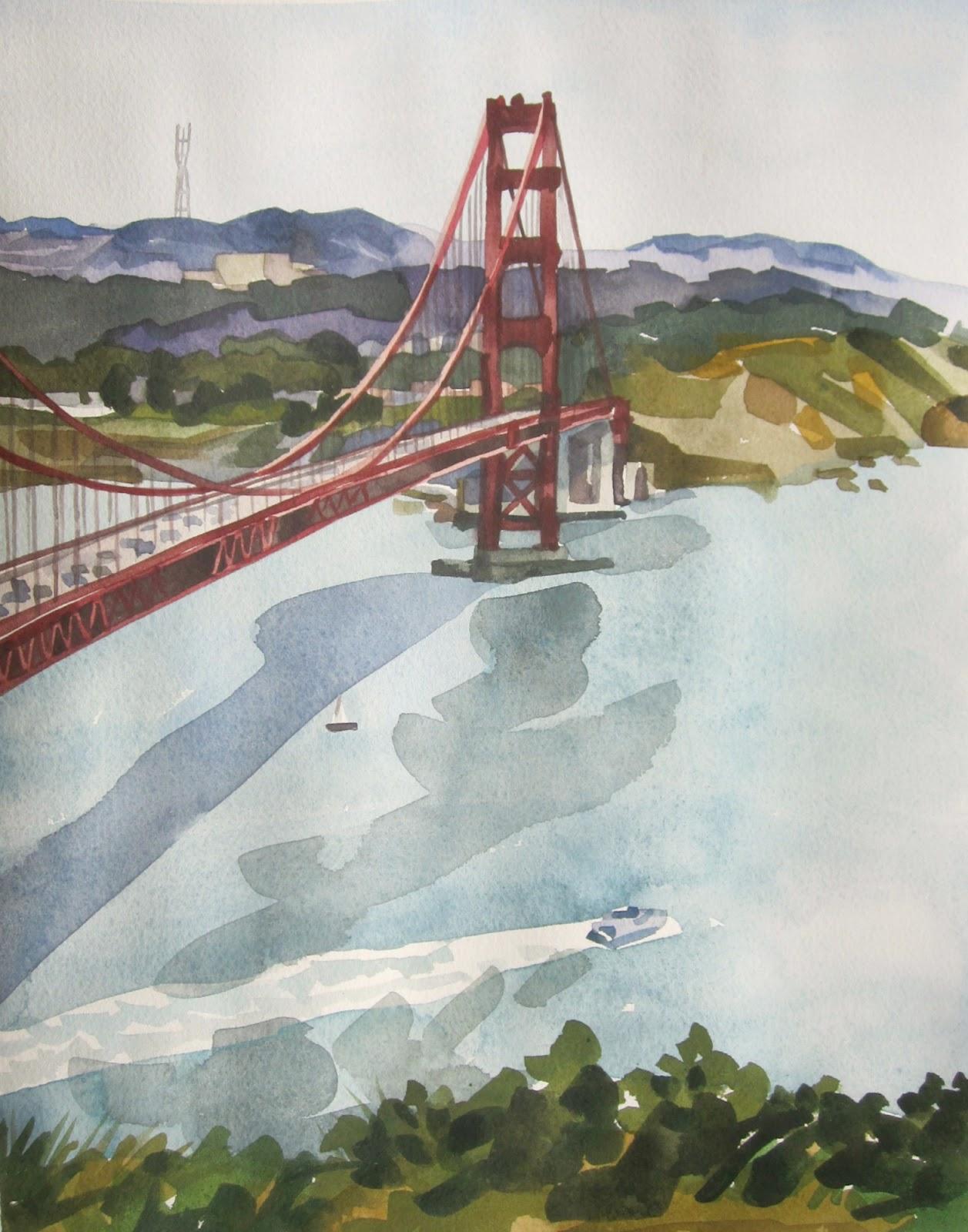 1257x1600 Laura Clarke Hawkins Golden Gate Bridge Watercolor